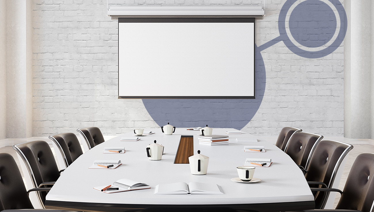 Modern Meeting Room with projector screen  3D illustration